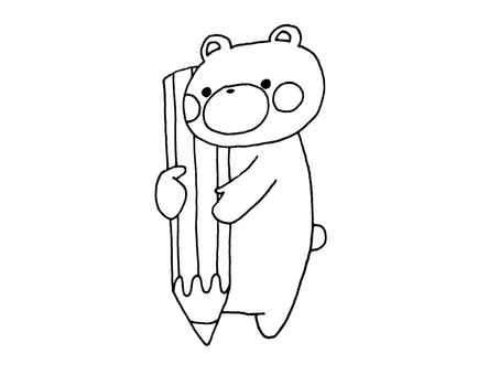 1 with pencil and bear 2
