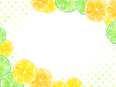 【Transparent】 watercolor hand-painted fruit frame green