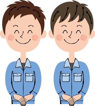 Worker Blue Two males Front Guidance Smile