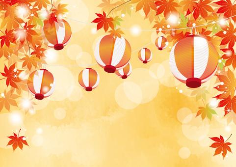 Autumn festival, lanterns and autumn leaves