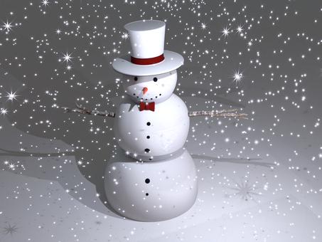 雪降る中のスノーマン