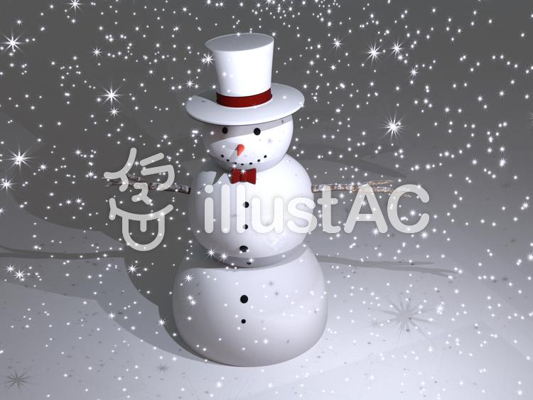 雪降る中のスノーマンのイラスト