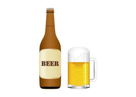 ビール瓶とビールジョッキ
