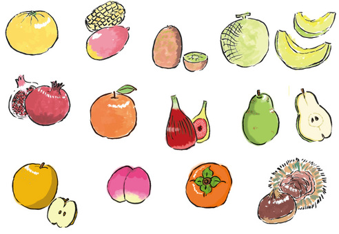 Assorted fruits <part 2> (brush pen)