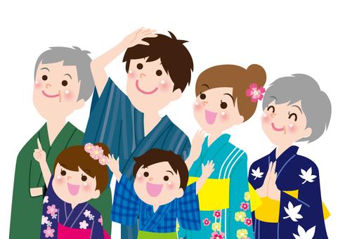 Family looking up at Yukata