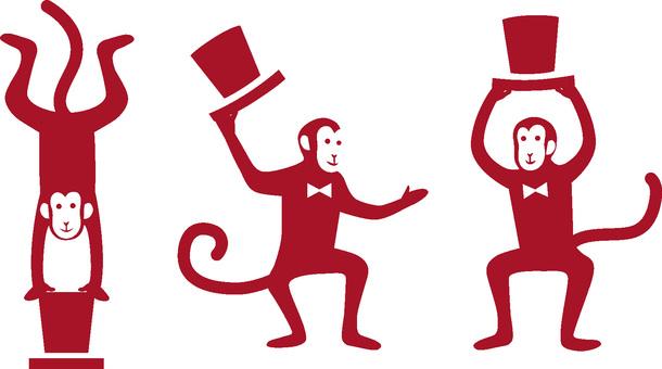 Silhouette monkeys · red