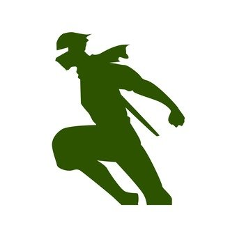 Jumping ninja silhouette (green)