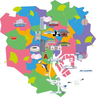 Tokyo 23 ward illustration map Tourism map