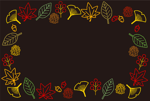 Autumn leaves and nuts wireframe