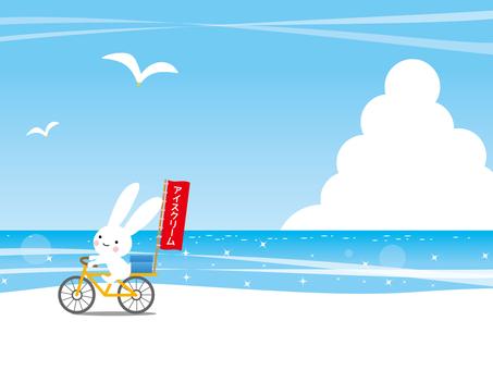 アイスクリームを売るうさぎと夏の海