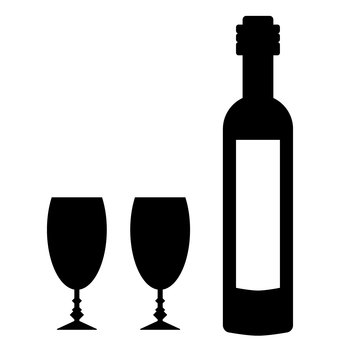 Wine bottle and glass _ Silhouette material