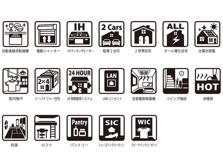 Residential equipment icons Assorted 1 color
