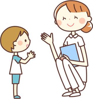 シンプルな人物_看護師さんと男の子