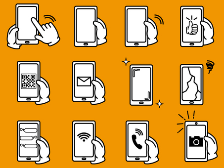 Smartphone and hand sign