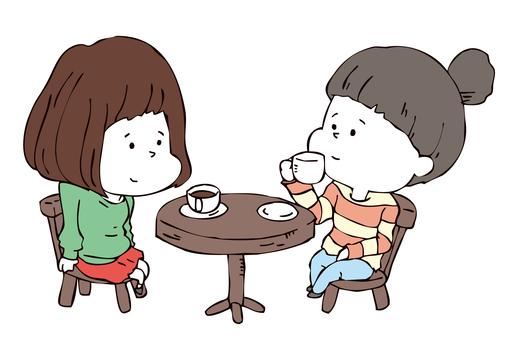 Two people having a coffee break