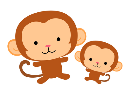 Illustration of a monkey parent and child