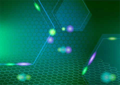 Green hexagon and light abstract background texture material