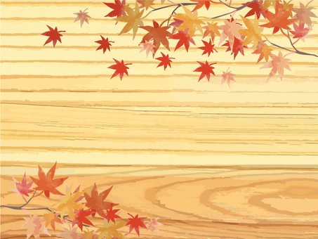 Autumn leaves and wood grain background