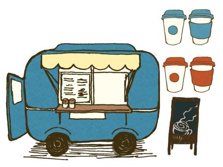レトロカラーの移動カフェ