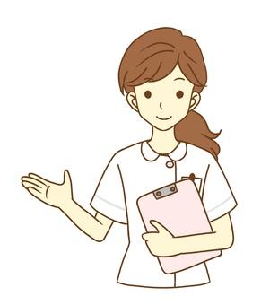 Female nurse who guides