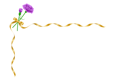 Purple carnation and gold ribbon