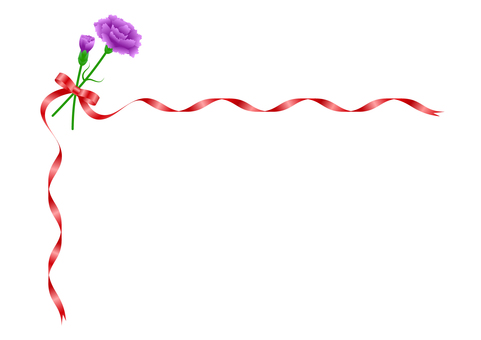 Purple carnation and red ribbon