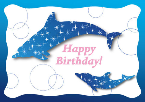Dolphin Star Birthday Card 02