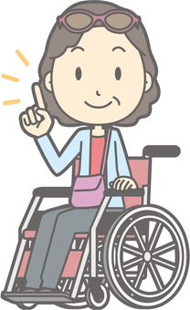 Female tourist middle-aged a - Wheelchair pointing - whole body