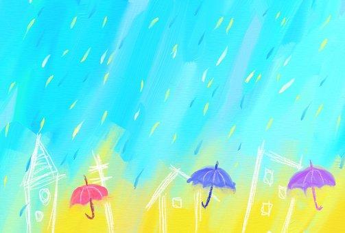 Rain town postcard