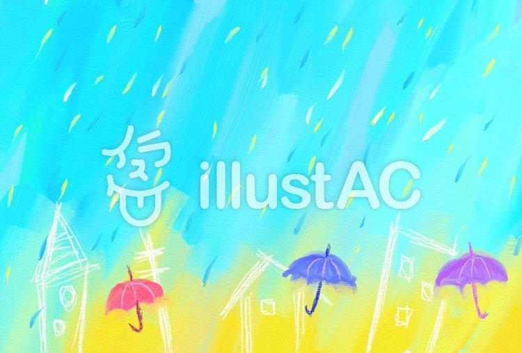 雨の街 ハガキのイラスト