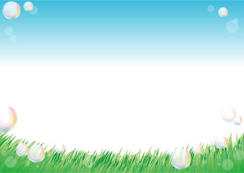 초원과 비누 방울의 배경