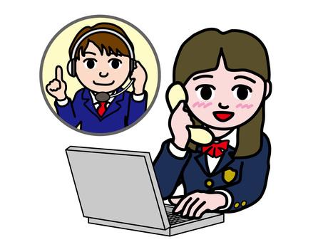 PC操作1006電話支持高中女生