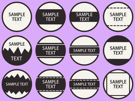 Round seal name tag monotone dotted line