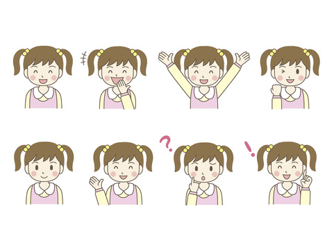 Facial expression of female elementary school student 01