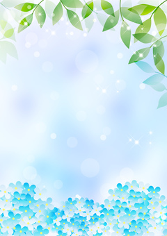 New green and hydrangea _ Blue background _ Vertical type