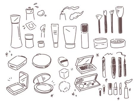 手描きのメイク道具ベクター