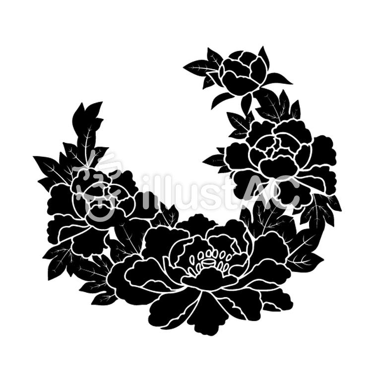 花丸紋様(単色/牡丹)のイラスト