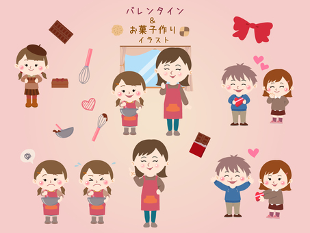 Valentine sweets making illustration