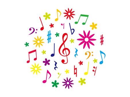カラフルな音符と花