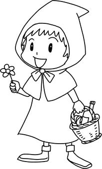 Hoods girl (line drawing)