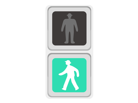 Traffic light blue pedestrians