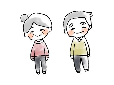 Watercolor painting grandma and grandfather
