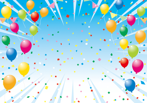 Balloons and sky _ background material 07
