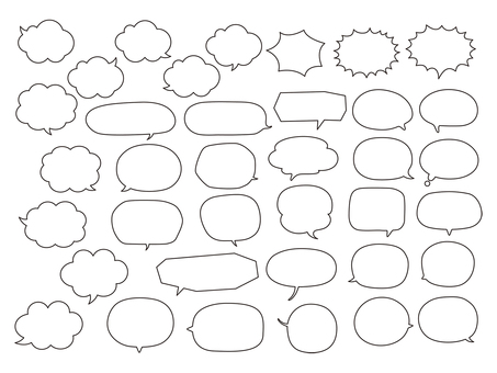Speech bubbles filled with characters