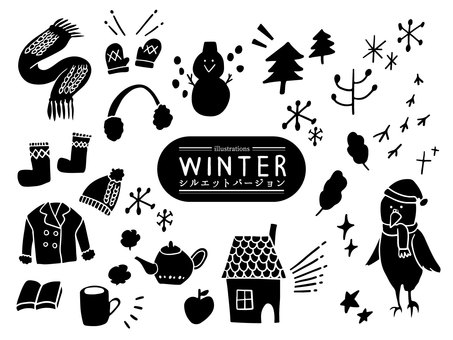 Winter motif handwritten silhouette illustration set