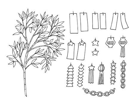 Tanabata decoration (line drawing)