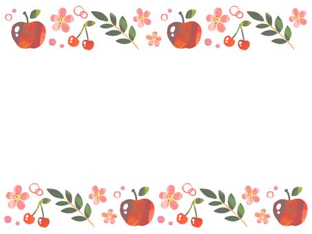 水彩風りんご