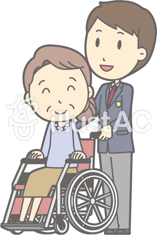 男子高冬a-車椅子押す-全身のイラスト
