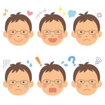 Eyeglasses male expression illustration