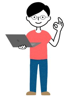 筆記本電腦的男人